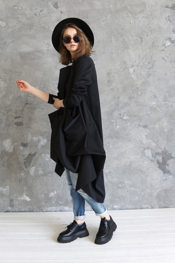Black wool long coat