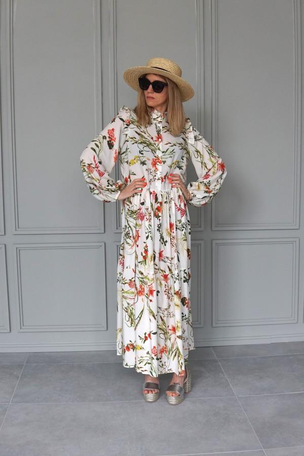creamy floral dress