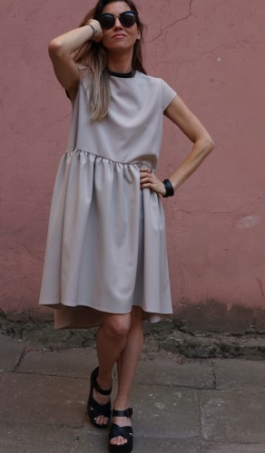 creamy light silhouette dress