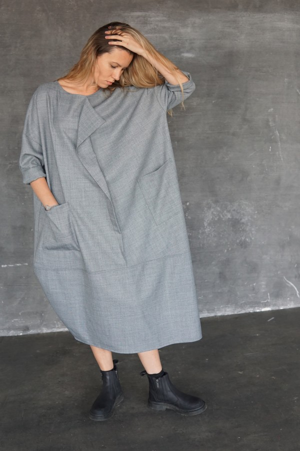 gray dress with decorated front