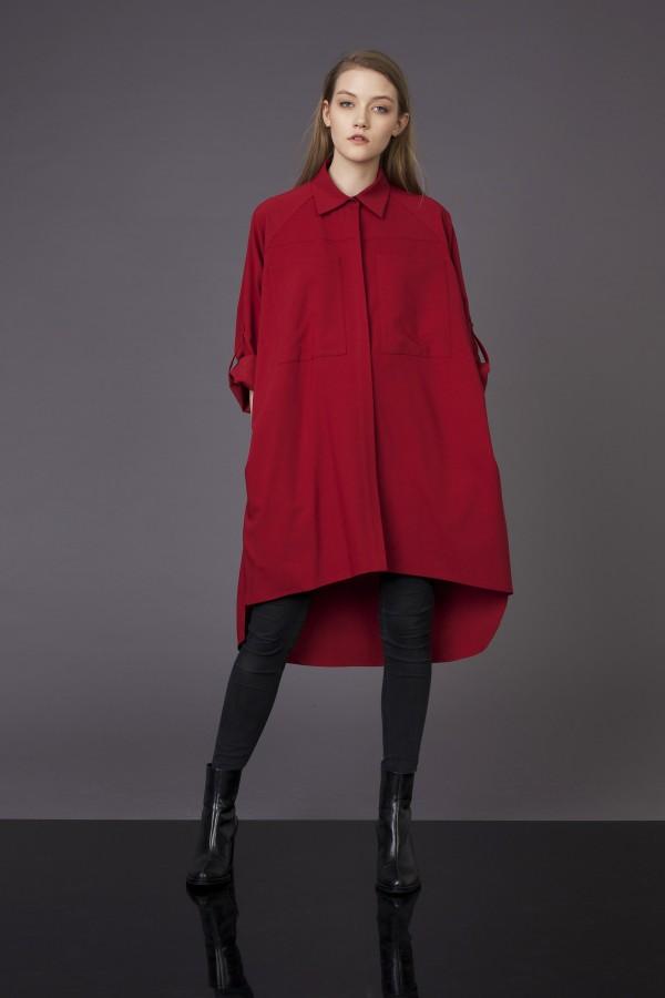 red oversize shirt