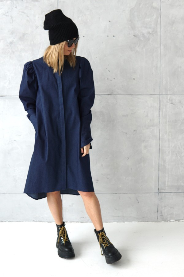 DENIM DRESS WITH LONG SLEEVES