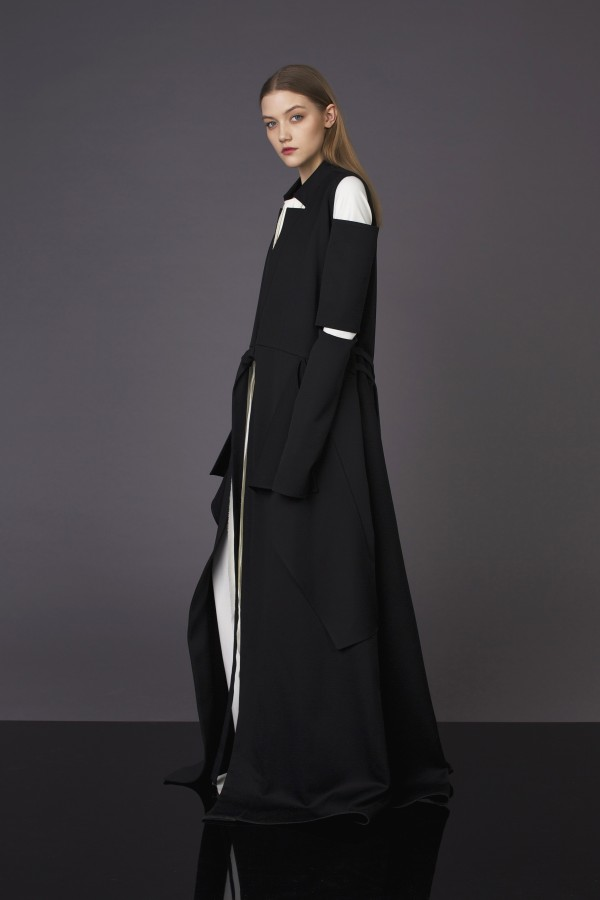 long coat with detail on sleeve