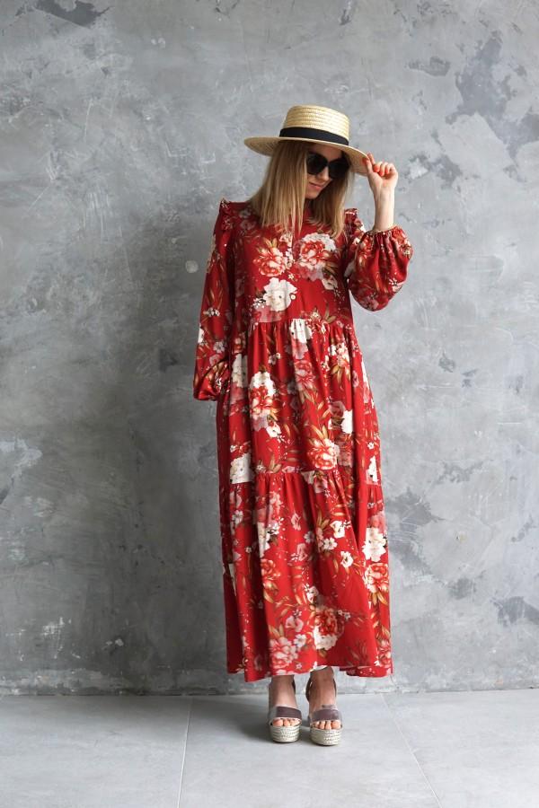 long flowery red dress