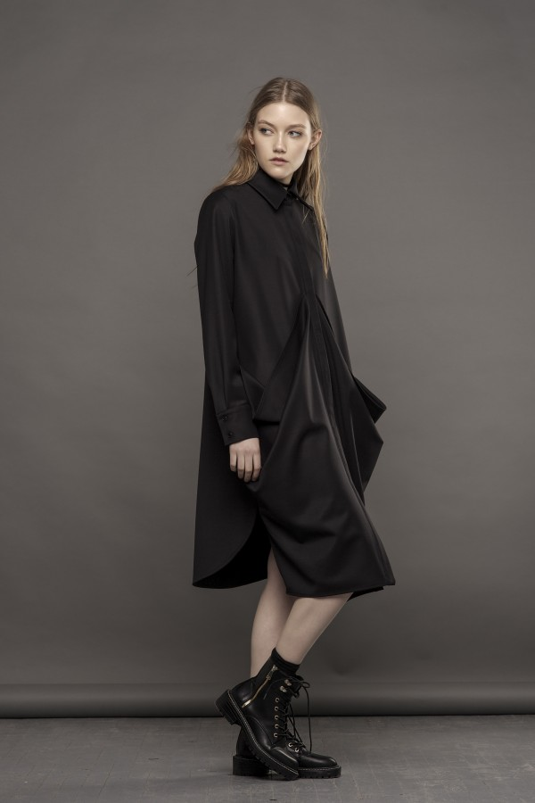 black shirt with drapery