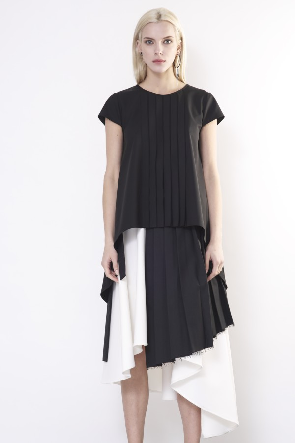 black shirt with pleats