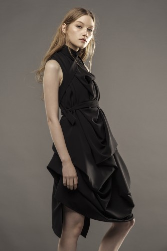 new draped black dress