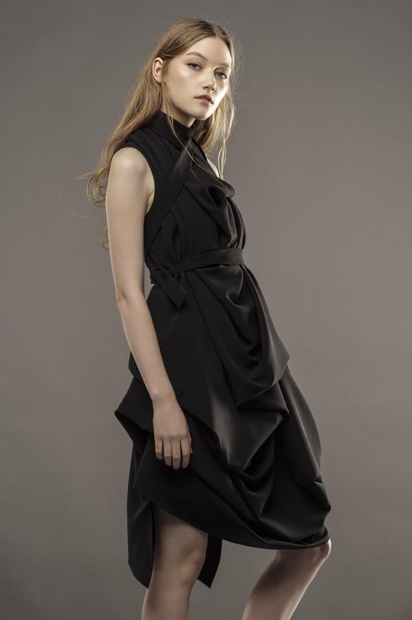 new draped black dress