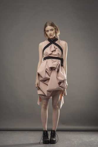 Dusty pink draped dress